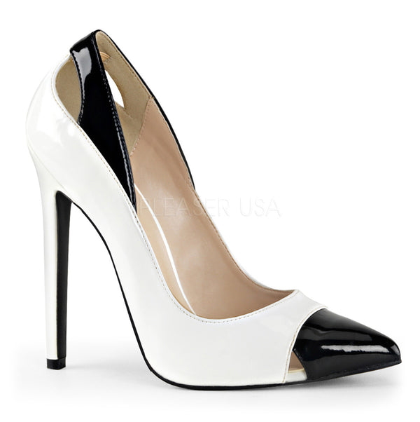 Pleaser SEXY-22 White-Black Patent Pointed Toe Pumps - Shoecup.com