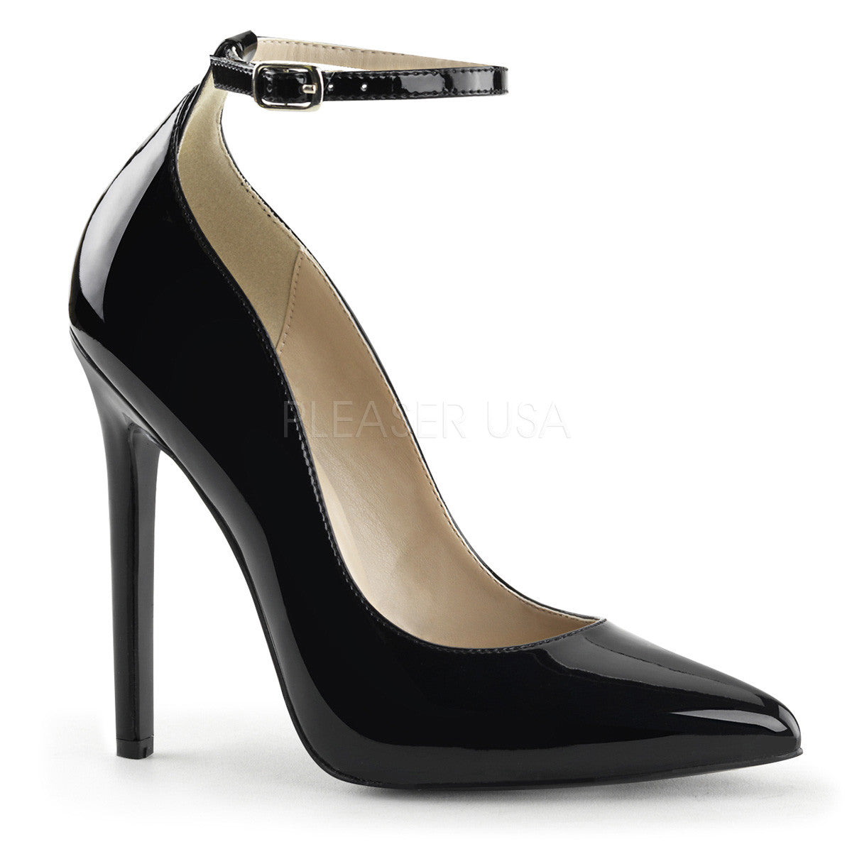 Pleaser SEXY-23 Black Patent Pointed Toe Pumps - Shoecup.com