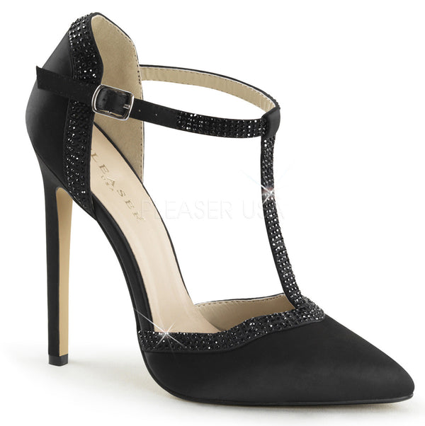 Pleaser SEXY-25 Black Satin T- Strap d'Orsay Pointed Toe Pumps - Shoecup.com