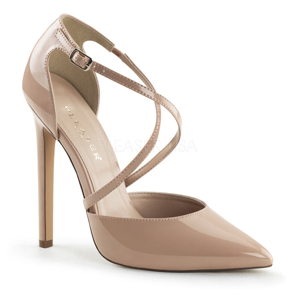 Pleaser SEXY-26 Nude Patent d'Orsay Pointed Toe Pumps - Shoecup.com