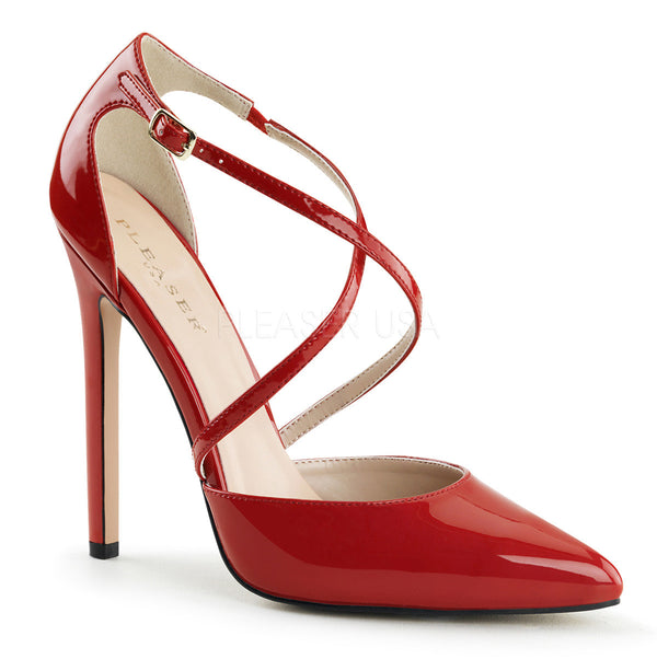 Pleaser SEXY-26 Red Patent d'Orsay Pointed Toe Pumps - Shoecup.com