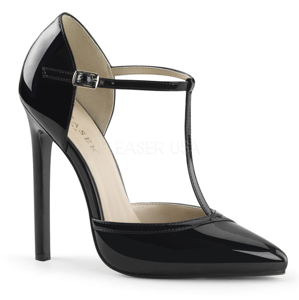 Pleaser SEXY-27 Black Patent T- Strap d'Orsay Pointed Toe Pumps - Shoecup.com