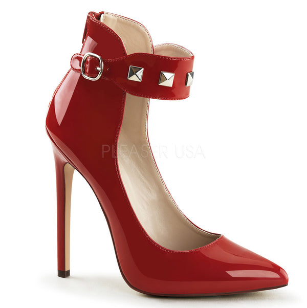 Pleaser SEXY-31 Red Patent Ankle Strap Pointed Toe Pumps - Shoecup.com