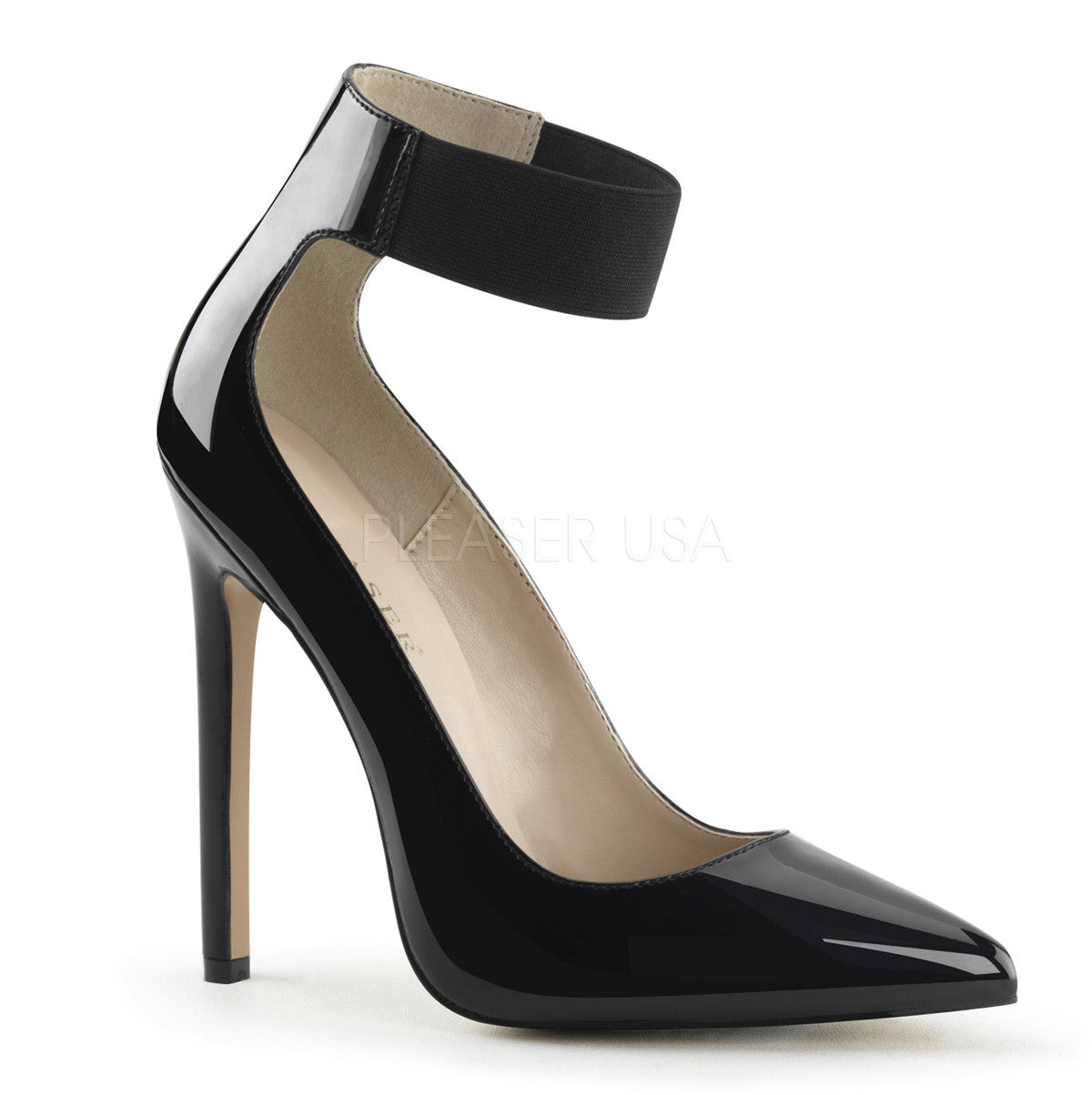 Pleaser SEXY-33 Black Patent Ankle Strap Pointed Toe Pumps - Shoecup.com