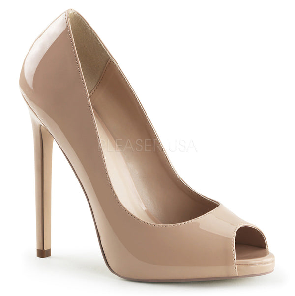Pleaser SEXY-42 Nude Patent Peep Toe Pumps - Shoecup.com