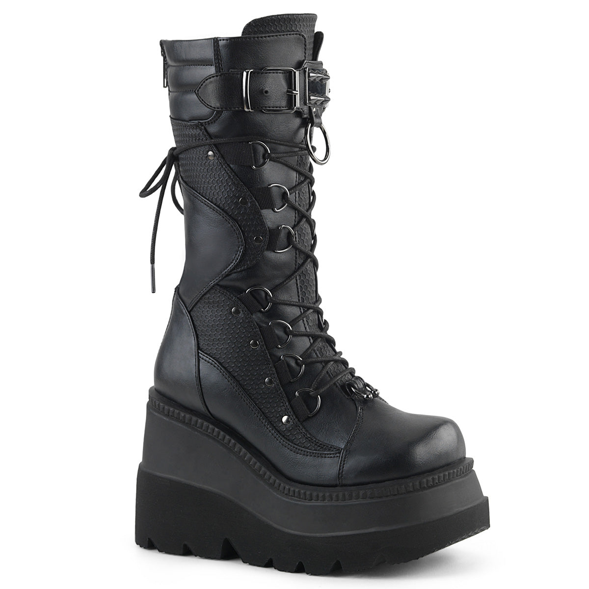 "Demonia SHAKER-70 Black 4 1/2"" Wedge Platform Lace-Up Mid-Calf Boot With Curvy Contrast Panel Designs on Vamp, Featuring Horseshoe Ring Ornament and Buckle Strap With Spike Studded Metal Plate and A Large O-Ring,  Metal Back Zip Closure"