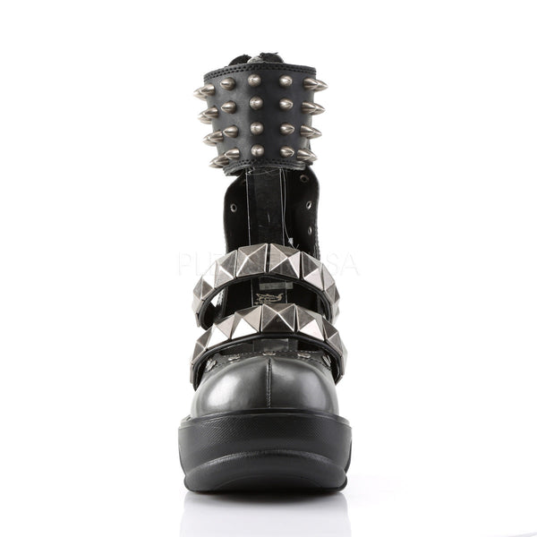 DEMONIA SINISTER-62 Dark Gray-Black Pu Platform - Shoecup.com - 4