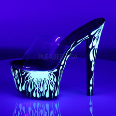 Pleaser SKY-301-5 Clear Slide With Black-Neon White Platform