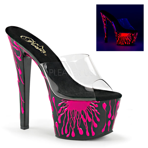 Pleaser SKY-301-5 Clear Slide With Black-Neon Hot Pink Platform - Shoecup.com