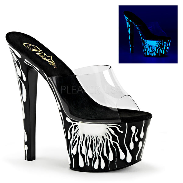 Pleaser SKY-301-5 Clear Slide With Black-Neon White Platform - Shoecup.com