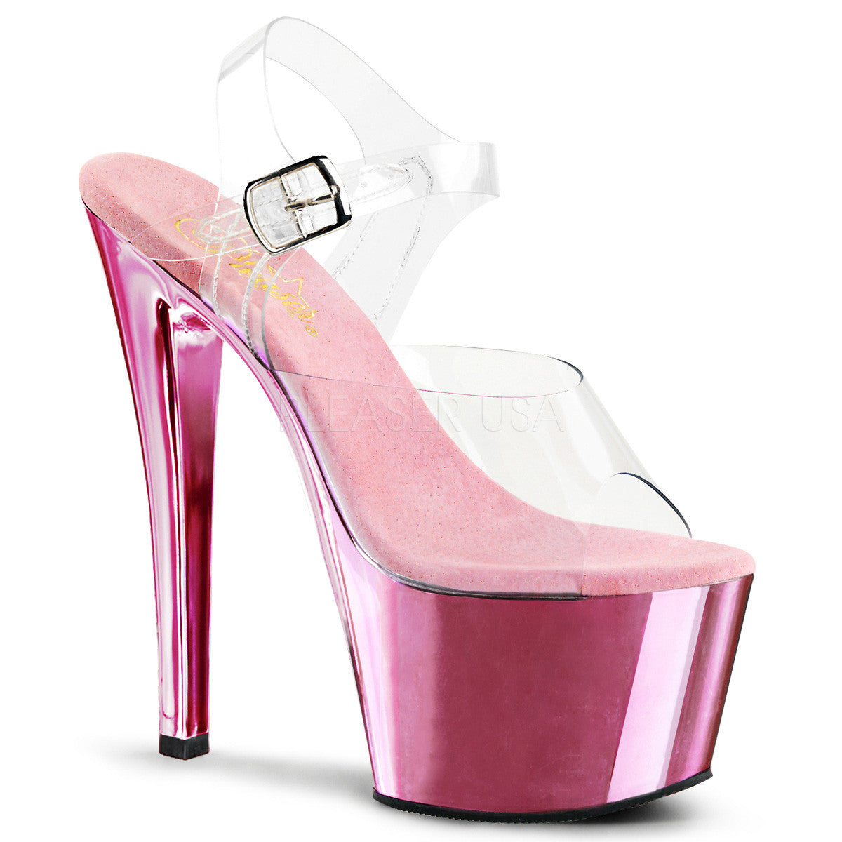 PLEASER SKY-308 Clear-Baby Pink Chrome Ankle Strap Sandals - Shoecup.com