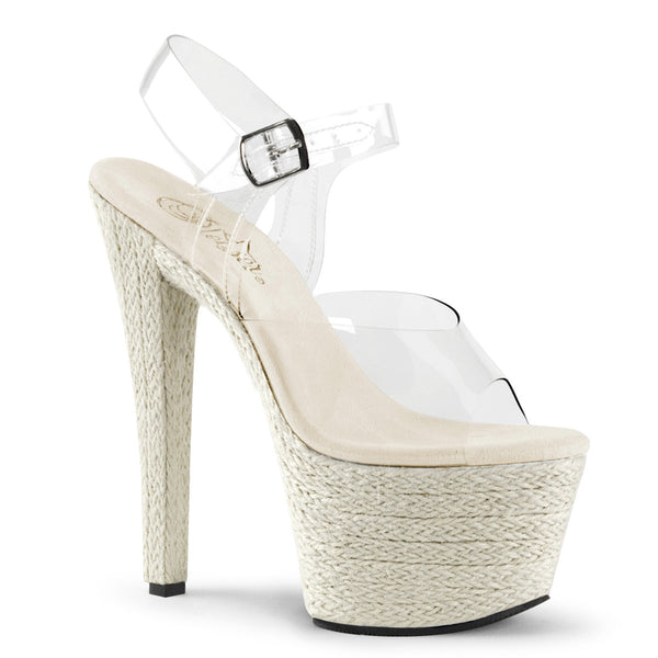 Pleaser SKY-308ESP Clear Ankle Strap Sandals With Beige Platform - Shoecup.com