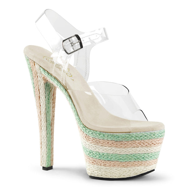 Pleaser SKY-308ESP Clear Ankle Strap Sandals With Multi Platform - Shoecup.com