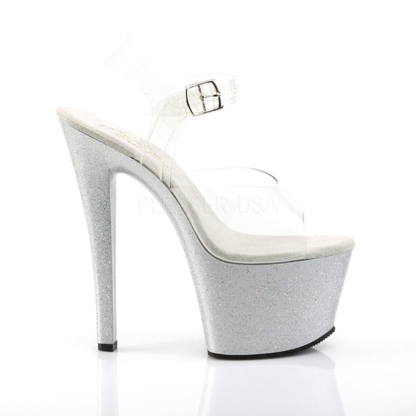Pleaser SKY-308MG Clear With Silver Glitter Platform Ankle Strap Sandals