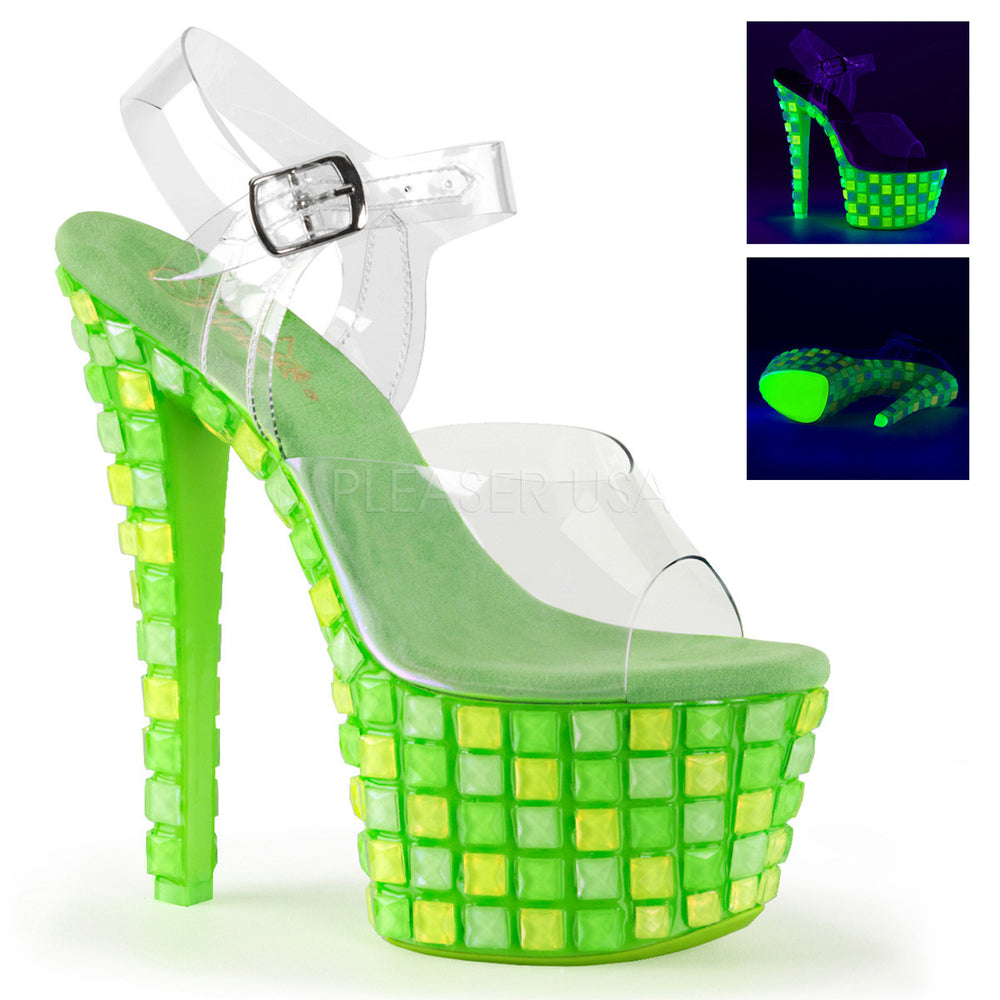 Pleaser SKY-308UVTL Clear Ankle Strap Sandals With Neon Green Platform