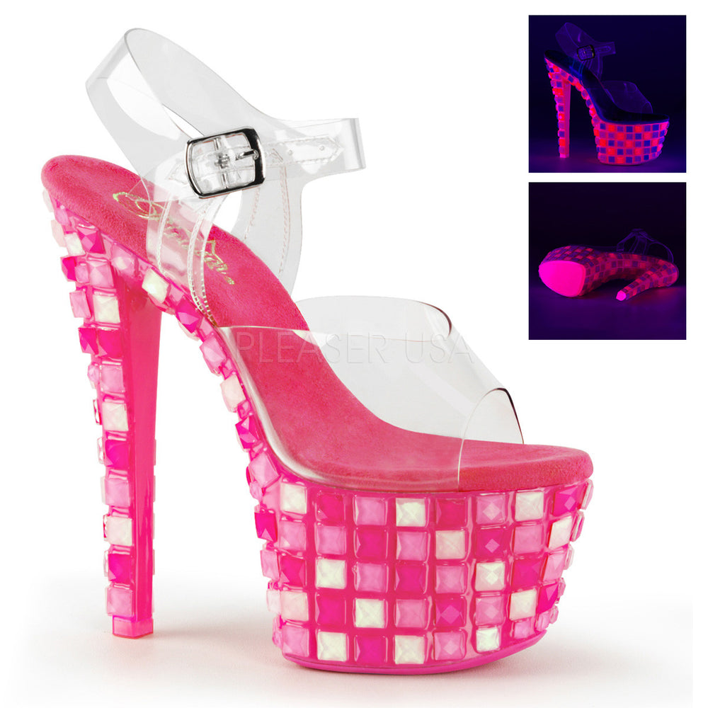 Pleaser SKY-308UVTL Clear Ankle Strap Sandals With Neon Hot Pink Platform