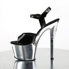 Pleaser SKY-309 Black Patent With Silver Chrome Platform Ankle Strap Sandals
