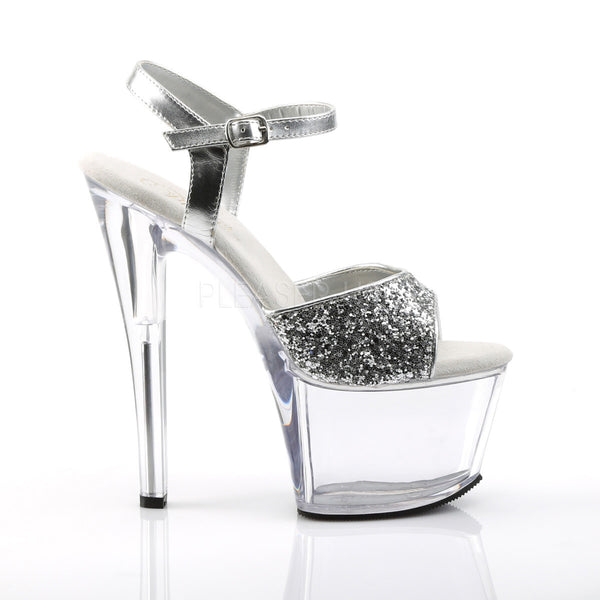 PLEASER SKY-310 Silver Glitter-Clear Ankle Strap Sandals