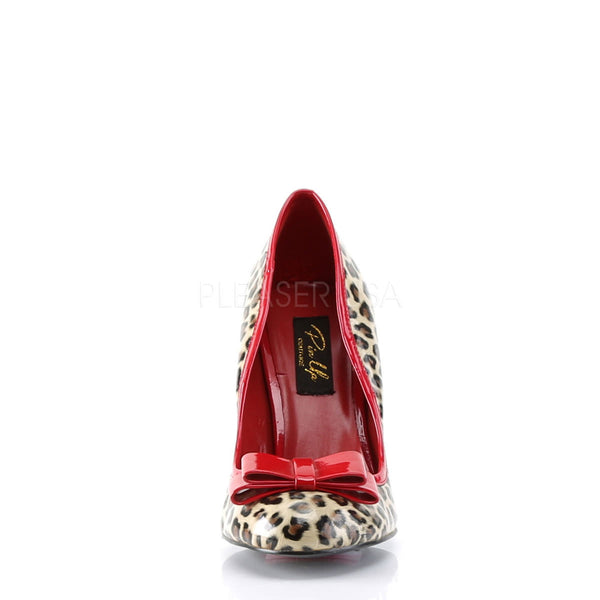 Pin Up Couture SMITTEN-01 Tan Pu-Red Patent (Cheetah Print) Pumps - Shoecup.com - 4