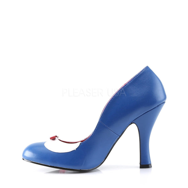 Pin Up Couture SMITTEN-05 Navy Blue-White Pu Pumps - Shoecup.com - 2