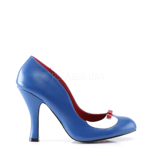 Pin Up Couture SMITTEN-05 Navy Blue-White Pu Pumps - Shoecup.com - 3