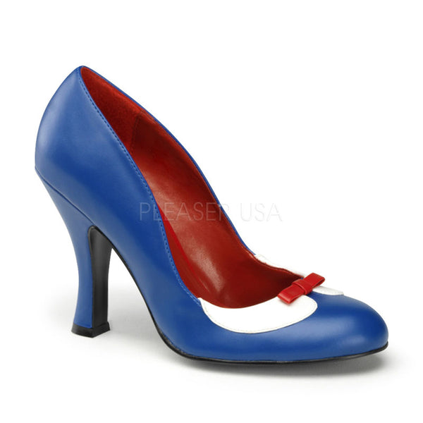 Pin Up Couture SMITTEN-05 Navy Blue-White Pu Pumps - Shoecup.com - 1