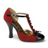 Pin Up Couture SMITTEN-10 Red M. Suede-Black Patent T-Strap D'orsay Pumps - Shoecup.com - 1