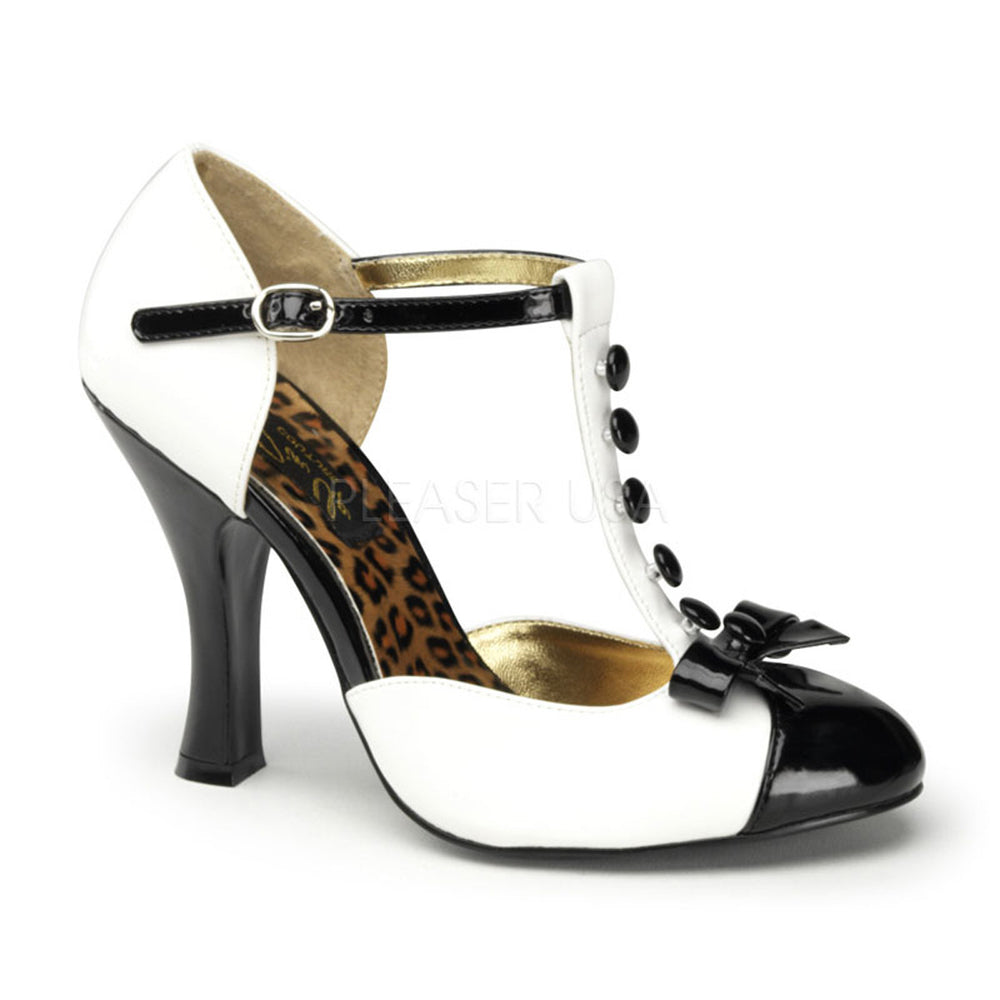 Pin Up Couture SMITTEN-10 White-Black Patent T-Strap D'orsay Pumps