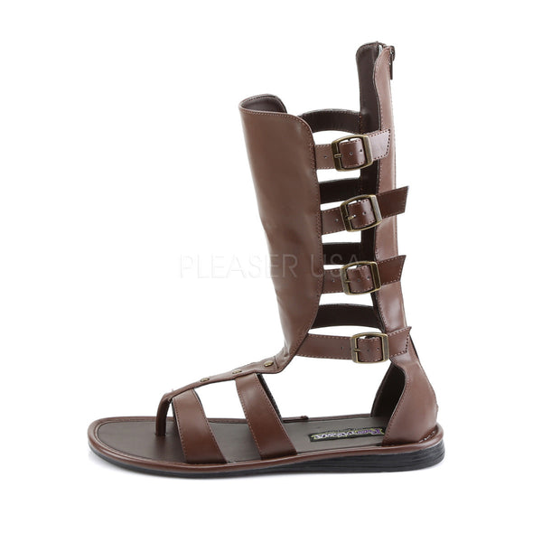 Men's Brown Pu Roman Gladiator Spartan Sandals