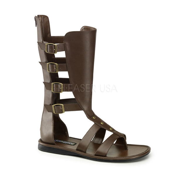Men's Brown Pu Roman Gladiator Spartan Sandals - Shoecup.com
