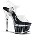 PLEASER SPIKY-608MG Clear-Black Glitter Ankle Strap Sandals - Shoecup.com