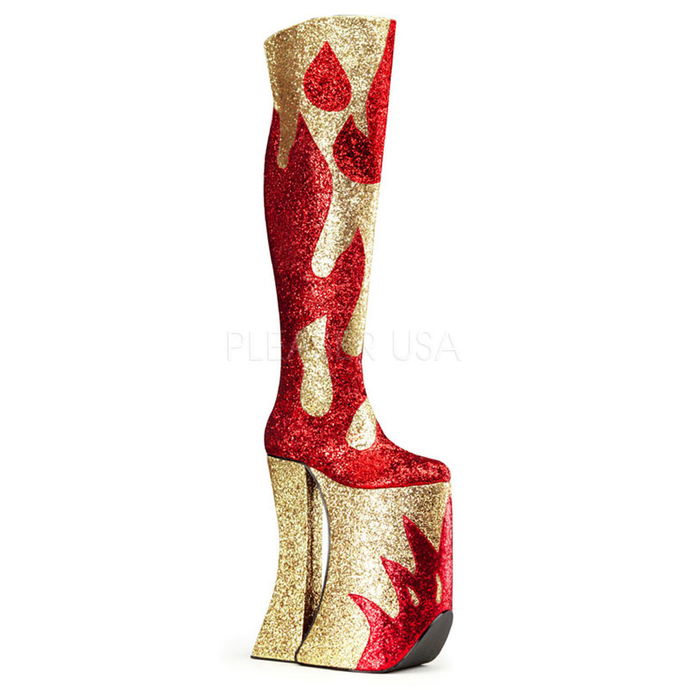 SPLASHY-3020 Red & Gold Glitter Thigh High Boots