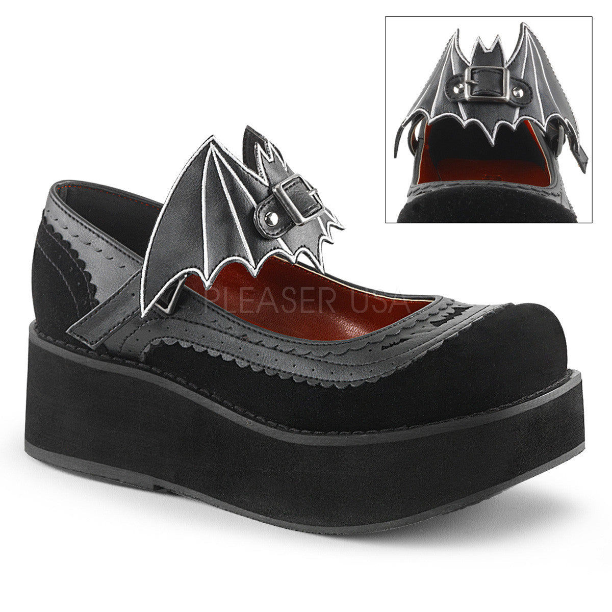 Demonia SPRITE-09 Black Bat Platform Mary Jane - Shoecup.com - 1