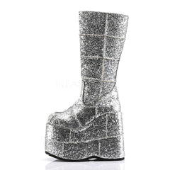 DEMONIA STACK-301G Men's Sliver Glitter Vegan Boots - Shoecup.com - 3