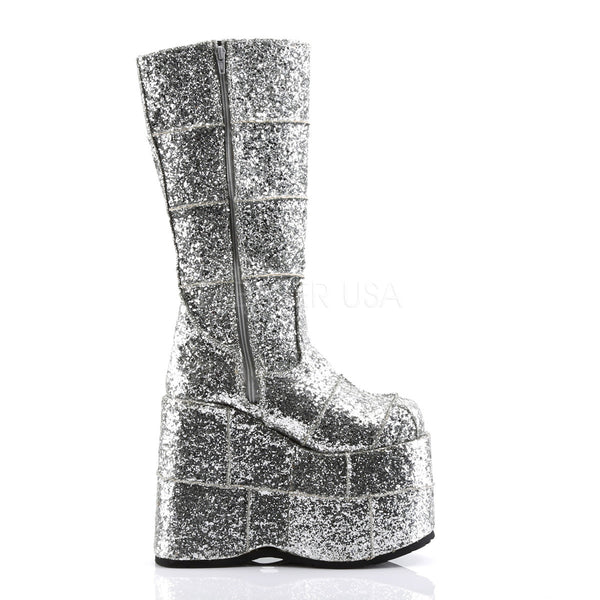 DEMONIA STACK-301G Men's Sliver Glitter Vegan Boots - Shoecup.com - 5