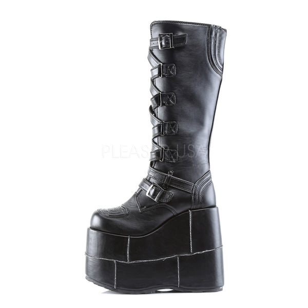 DEMONIA STACK-308 Men's Black Pu Vegan Boots - Shoecup.com - 2