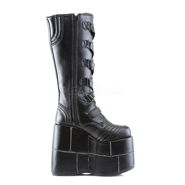 DEMONIA STACK-308 Men's Black Pu Vegan Boots - Shoecup.com - 3