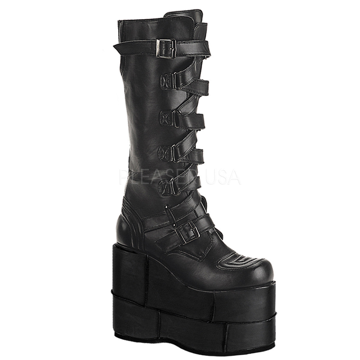 Demonia,DEMONIA STACK-308 Men's Black Pu Vegan Boots - Shoecup.com