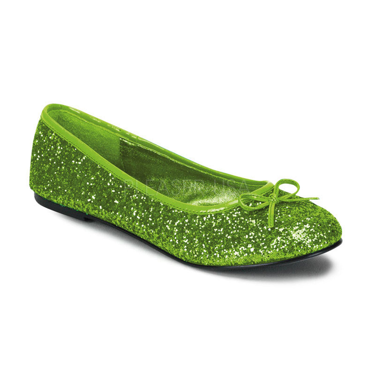 FUNTASMA STAR-16G Lime Green Glitter Ballet Flat - Shoecup.com