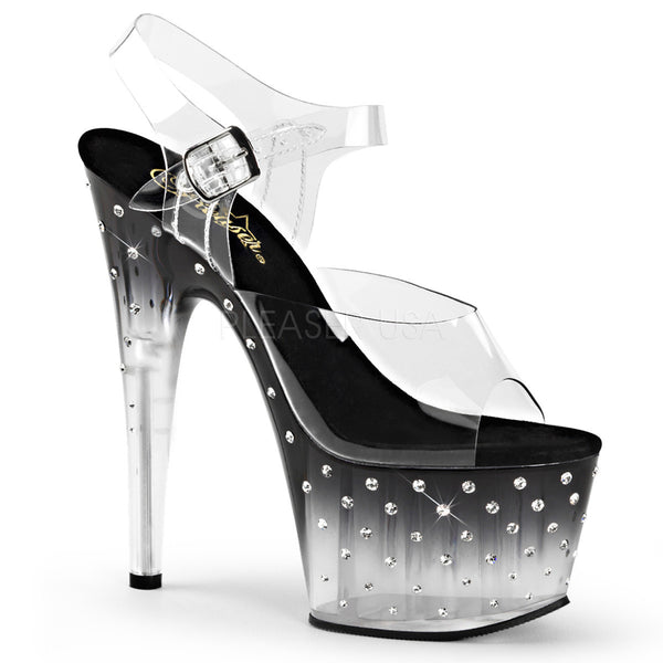 1e66100fd411 Pleaser STARDUST-708T Clear Ankle Strap Sandals With Black-Clear Platform