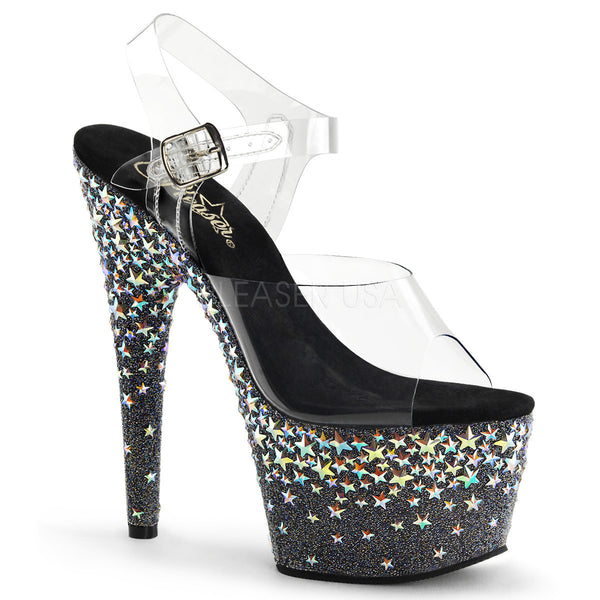 PLEASER STARSPLASH-708 Clear-Black (Silver Hologram Stars) Ankle Strap Sandals - Shoecup.com