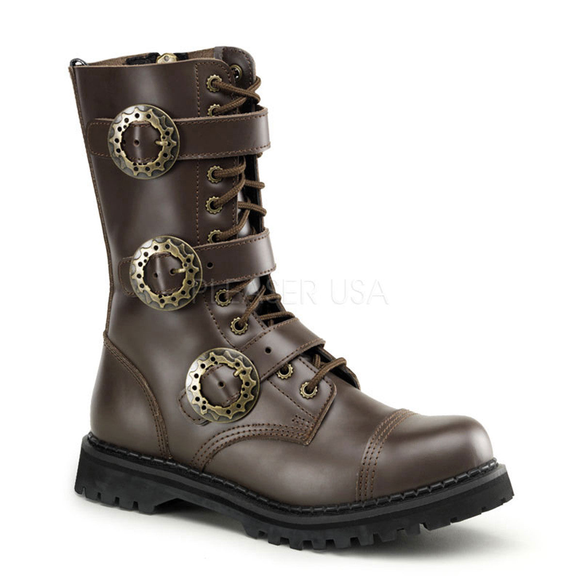 Demonia,DEMONIA STEAM-12 Men's Brown Leather Steampunk Boots - Shoecup.com