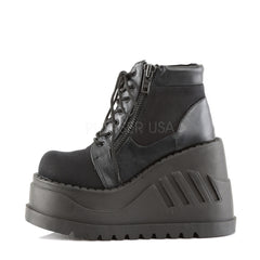 Demonia STOMP-10 Black Canvas-Vegan Leather Boots - Shoecup.com - 2