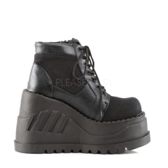 Demonia STOMP-10 Black Canvas-Vegan Leather Boots - Shoecup.com - 3