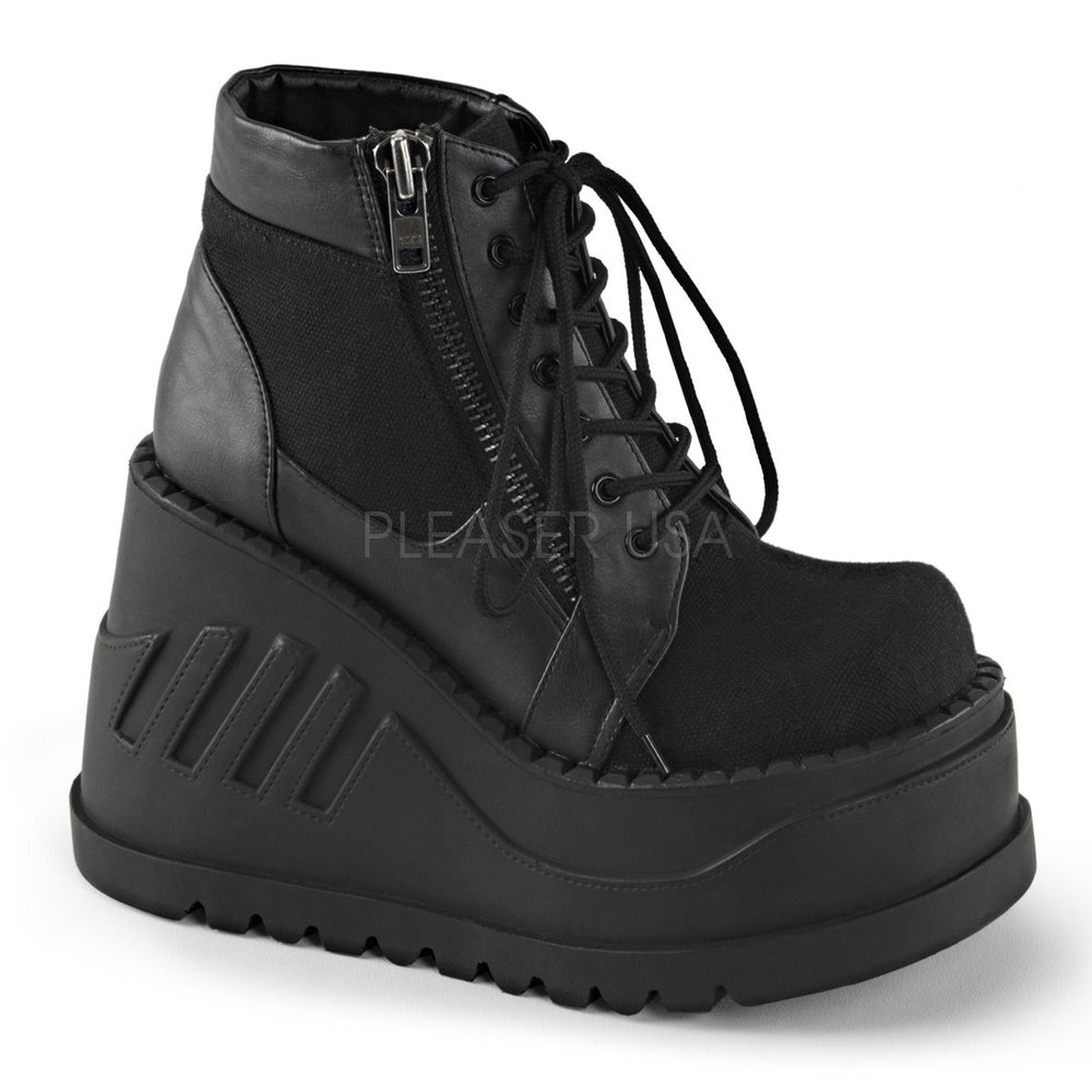 Demonia STOMP-10 Black Canvas-Vegan Leather Boots