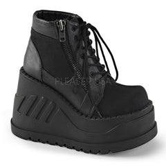Demonia,Demonia STOMP-10 Black Canvas-Vegan Leather Boots - Shoecup.com