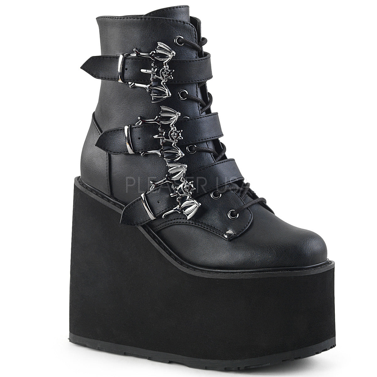 "Demonia SWING-103 Black 5 1/2""(140mm) Wedge Platform Lace-Up Front Ankle Boot Featuring Triple Bat Buckle Straps, Metal Inside Zip Closure"