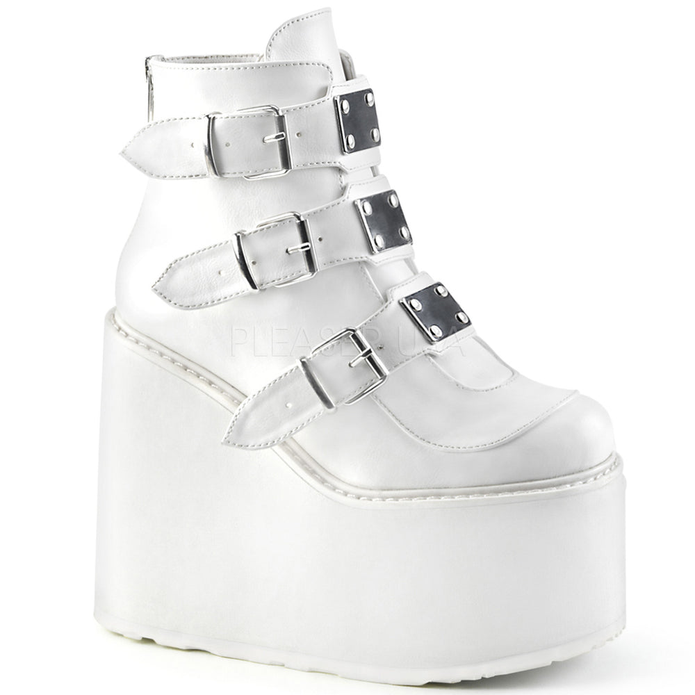 "5"" Platform SWING-105 White Vegan Leather"