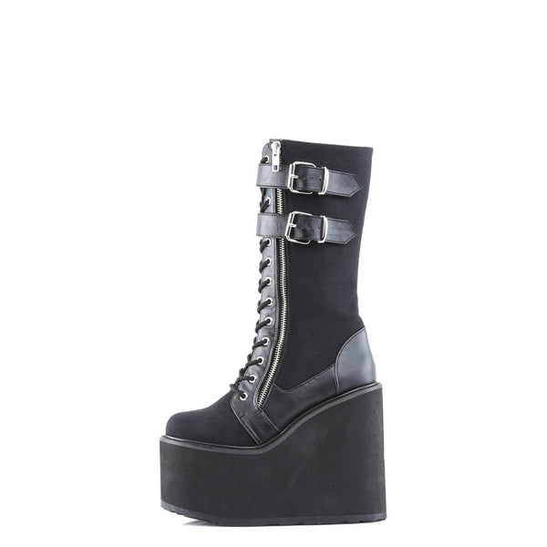 Demonia SWING-221 Black Canvas-Vegan Leather Boots - Shoecup.com - 2