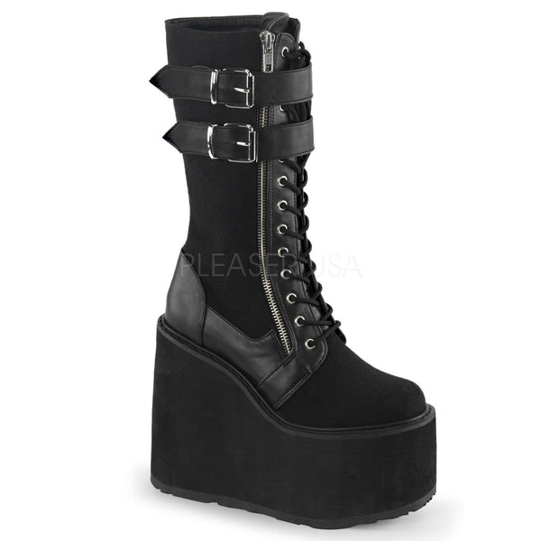 Demonia SWING-221 Black Canvas-Vegan Leather Boots - Shoecup.com - 1